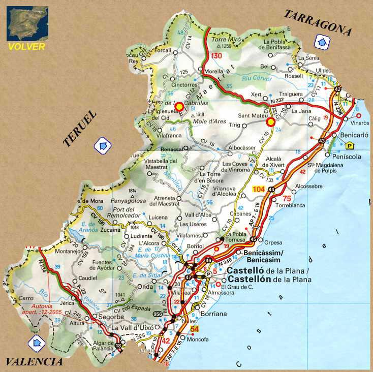 Provincia De Castellón Mapa.Rutas Romanicas Por Castellon A Garcia Omedes