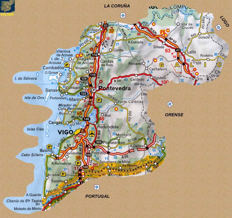 Mapa De Pontevedra Provincia.Rutas Romanicas Por Pontevedra A Garcia Omedes