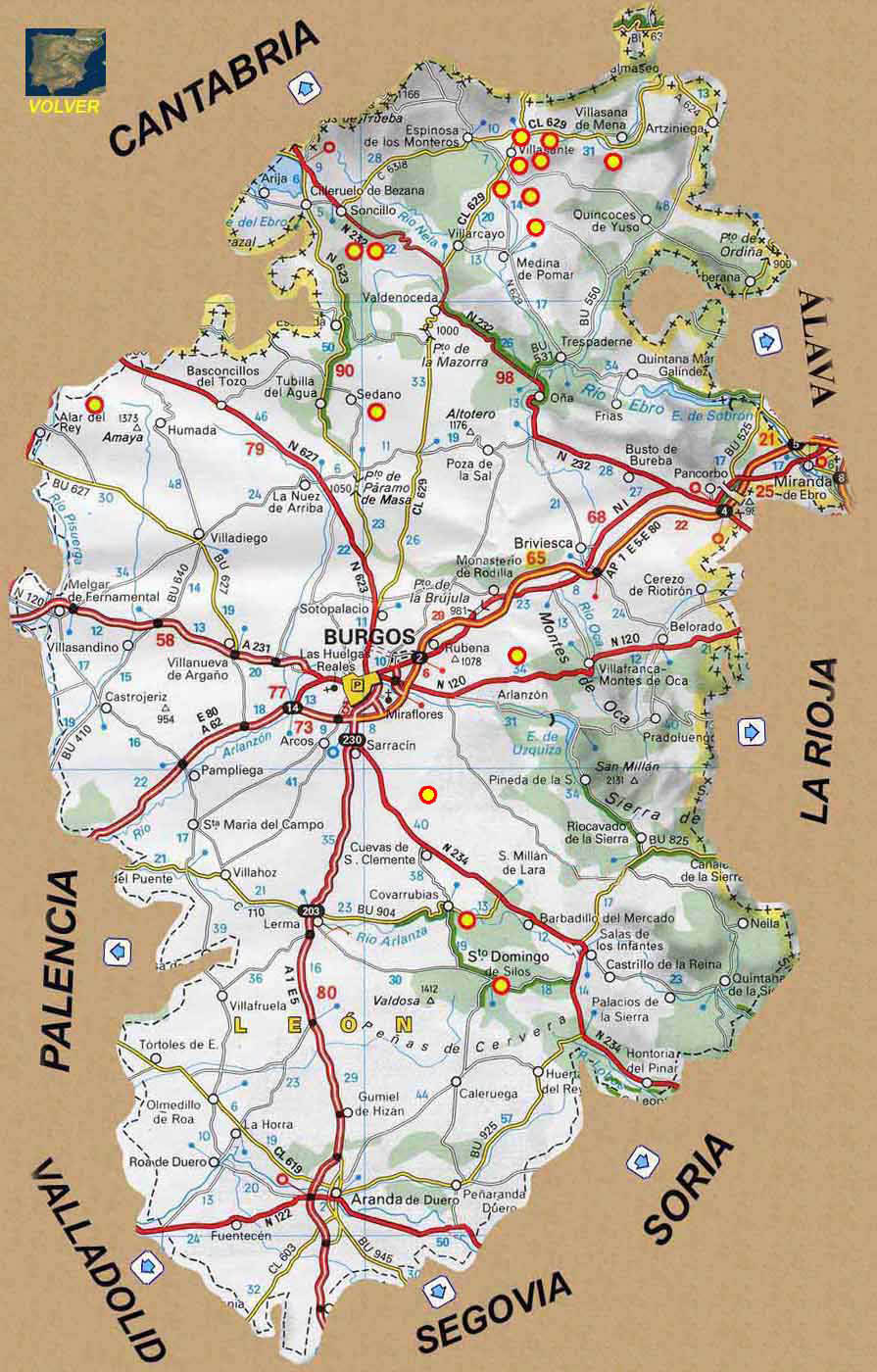 Mapa De España Burgos.Rutas Romanicas Por Burgos