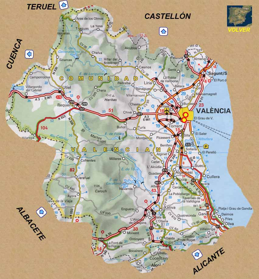 Mapa De Valencia España.Rutas Romanicas Por Valencia A Garcia Omedes