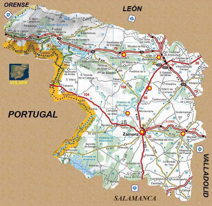 Provincia De Zamora Mapa.Mapa De Zamora