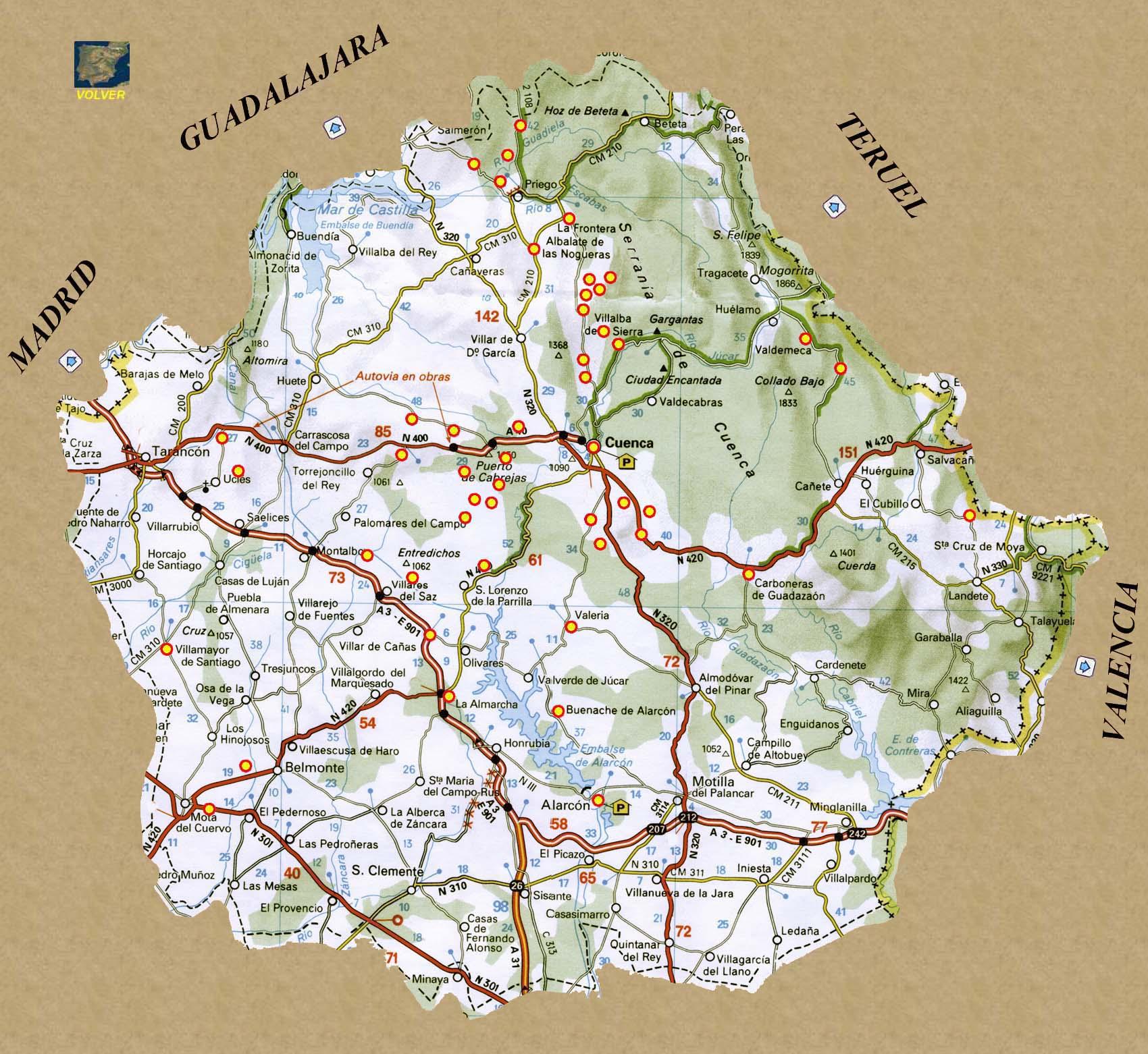 Mapa Provincia De Cuenca España.Rutas Romanicas Por Cuenca